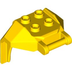 LEGO part 27167 Plate Special, 2 x 2 Studs and Bar (Mech Chest Plate / Armor) in Bright Yellow/ Yellow