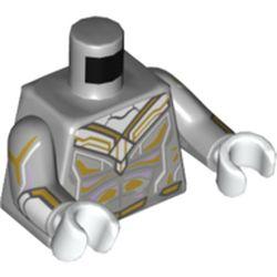 LEGO part 973c14h27pr0002 Torso, Gold/White Markings print, Light Bluish Grey Arms, White Hands (The Vision) in Medium Stone Grey/ Light Bluish Gray