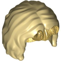 LEGO part 78915pr0001 Minifig Hair, Short with Center Part and Pearl Gold Tiara, Horns print in Brick Yellow/ Tan