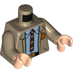 LEGO part 973c11h02pr0001 Torso, Jacket, Bright Light Blue Shirt, Reddish Brown Ty, Black Belt, Orange 'VARIANT' on Back print, Dark Tan Arms, Light Flesh Hands in Sand Yellow/ Dark Tan