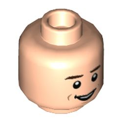 LEGO part 3626cpr9742 Minifig Head, Dark Brown Eyebrows, Smile/Scared Open Mouth print [Hollow Stud] in Light Nougat