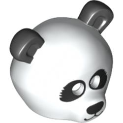 LEGO part 15506pr0004 Minifig Mask Panda Headpiece with Black Ears, Eyes and Nose Print in White