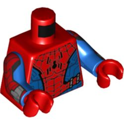 LEGO part 973c28h22pr0001 Torso, Spider Suit, Webbing, Black Spider On Front, Red Spider On Back print, Blue Arms, Red Hands in Bright Red/ Red