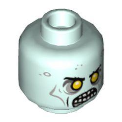 LEGO part 3626cpr9740 Minifig Head, Yelow Eyes, Dark Bluish Grey Eye Shadow, Angry Mouth, Teeth print in Aqua/ Light Aqua