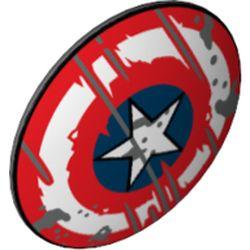 LEGO part 75902pr0020 Minifig Shield Round Bowed with Blue/White Circles, Star, Scratches print in Dark Stone Grey / Dark Bluish Gray