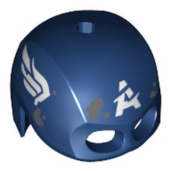 LEGO part 45779pr0002 Minifig Helmet Mask, Top Hole, Scratched White Wings, White 'A', Dark Bluish Grey Mud Spots Print (Captain America) in Earth Blue/ Dark Blue