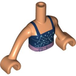 LEGO part 73141 Minidoll Torso Girl with Dark Blue Top, Lavender Belt, Flesh Arms and Hands in Nougat