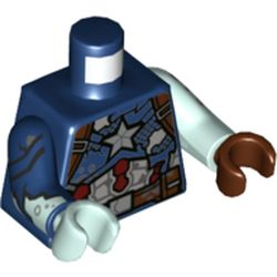 LEGO part 973d38pr0001 Torso, Odd Arms and Hands, Captain America Armour, Silver Star, Tears, Dark Bluish grey Mud print, Left Light Aqua Arm and Reddish Brown Hand, Right Dark Blue Arm, Light Aqua Hand [Plain] in Earth Blue/ Dark Blue
