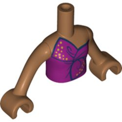 LEGO part  Minidoll Torso Girl with Magenta Top Tied in Bow, Medium Dark Flesh Arms with Hands in Medium Nougat