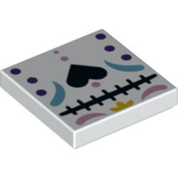 LEGO part 3068bpr0543 Tile 2 x 2 Black Heart, Dark Purple Dots, Bright Pink / Dark Turquoise Decoration print in White