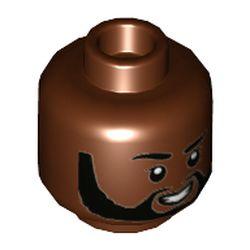 LEGO part 3626cpr9738 Minifig Head, Raised Eyebrow, White Teeth Smile, Black Beard print in Reddish Brown