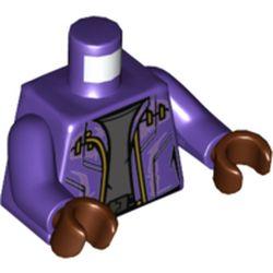 LEGO part 973c09h19pr0001 Torso, Jacket, Gold Zipper, Dark Bluish Grey Shirt, Black Belt print, Dark Purple Arms, Reddish Brown Hands in Medium Lilac/ Dark Purple