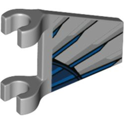 LEGO part 44676pr0002 Flag 2 x 2 Trapezoid with Clips with Dark Blue/Blue/Silver Stripes/Wings print in Medium Stone Grey/ Light Bluish Gray