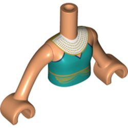 LEGO part  Minidoll Torso Girl with Dark Turquoise Dress, Gold Band, White Necklace, Flesh Arms in Nougat
