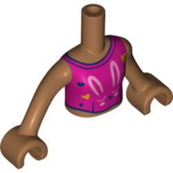 LEGO part 73141 Minidoll Torso Magenta Top with Bright Light Pink Bunny print, Medium Dark Flesh Arms and Hands in Medium Nougat