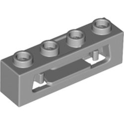 LEGO part 63783 Brick Special 1 x 4 with Inside Clips (Disk Shooter) in Medium Stone Grey/ Light Bluish Gray