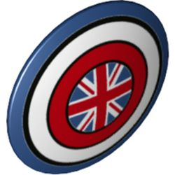LEGO part 75902pr0021 Minifig Shield Round Bowed with Dark Blue/White/Red Circles, Union Jack print in Earth Blue/ Dark Blue