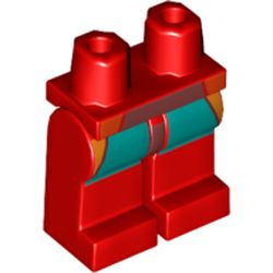 LEGO part 970c00pr2142 Legs and Hips with Dark Turquoise and Orange Panels Print in Bright Red/ Red
