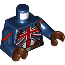 LEGO part 973c05h19pr0001 Torso, Union Jack Armor, Reddish Brown Belt, Straps with Dark Blue Arms, Reddish Brown Hands in Earth Blue/ Dark Blue