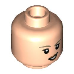 LEGO part 3626cpr9743 Minifig Head, Medium Dark Flesh Eyebrows, Open Mouth Smile / Crooked Grin print [Hollow Stud] in Light Nougat