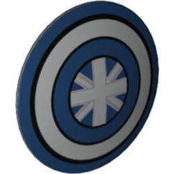 LEGO part 75902pr0029 Minifig Shield Round Bowed with Blu/White Circles, Star print in Dark Stone Grey / Dark Bluish Gray