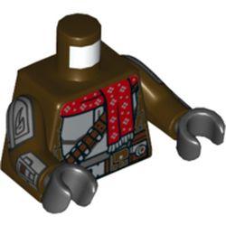 LEGO part 973c07h03pr5672 MINI UPPER PART, NO. 5672 in Dark Brown