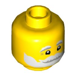 LEGO part 3626cpr3560 Minifig Head Santa, White and Gray Eyebrows and Beard, Smile Print in Bright Yellow/ Yellow