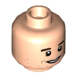 LEGO part 3626cpr3496 Minifig Head Antoni, Dark Brown Eyebrows, Open Mouth Smile / Closed Mouth Smile Print in Light Nougat