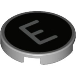 LEGO part 14769pr1192 Tile Round 2 x 2 with Bottom Stud Holder with 'E' on Black Background Print in Medium Stone Grey/ Light Bluish Gray