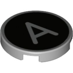 LEGO part 14769pr1200 Tile Round 2 x 2 with Bottom Stud Holder with 'A' on Black Background Print in Medium Stone Grey/ Light Bluish Gray