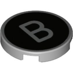 LEGO part 14769pr1213 Tile Round 2 x 2 with Bottom Stud Holder with 'B' on Black Background Print in Medium Stone Grey/ Light Bluish Gray
