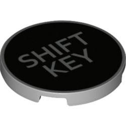 LEGO part 67095pr0010 Tile Round 3 x 3 with 'SHIFT KEY' on Black Background Print in Medium Stone Grey/ Light Bluish Gray