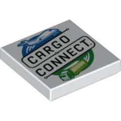 LEGO part 3068bpr0539 Tile 2 x 2 with 'CARGO CONNECT' print in White