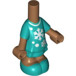 LEGO part 76808pr0013 Microdoll Body Short Dress with Dark Turquoise Dress, White Snowflakes print, Medium Dark Flesh Arms and Legs in Bright Bluish Green/ Dark Turquoise