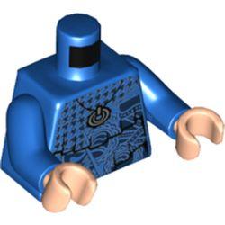 LEGO part 973c28h02pr5667 Torso Layered Sweater with Dark Blue Design Print, Blue Arms, Light Flesh Hands in Bright Blue/ Blue