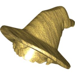 LEGO part 73213 Minifig Hair with Floppy Witch Hat with Short Hair [PLAIN] in Warm Gold/ Pearl Gold