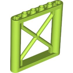 LEGO part 64448 Support 1 x 6 x 5 Girder Rectangular in Bright Yellowish Green/ Lime