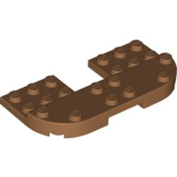 LEGO part 73832 Plate Round Corners 4 x 8 x 2/3 Half Circle with Reduced Knobs in Medium Nougat