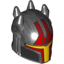 LEGO part 79515pr0001 Minifig Helmet Mandalorian with Holes and Spikes/Horns with Red/Yellow Visor, Red Markings print in Titanium Metallic/ Pearl Dark Gray