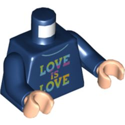 LEGO part 973c05h02pr5677 Torso Sweater with Rainbow 'LOVE IS LOVE' Print, Dark Blue Arms, Light Flesh Hands in Earth Blue/ Dark Blue