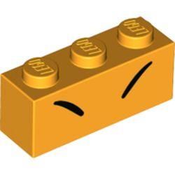 LEGO part 3622pr0062 Brick 1 x 3 with 2 Black Lines/Eyebrows print in Flame Yellowish Orange/ Bright Light Orange