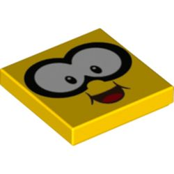 LEGO part 3068bpr0546 Tile 2 x 2 with Face, Large White Eyes print in Bright Yellow/ Yellow