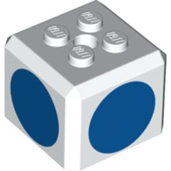 LEGO part 66855pr0004 Brick Special Cube with 2 x 2 Studs on Top, and Blue Circles Print in White