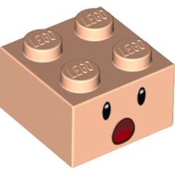 LEGO part 3003pr0160 Brick 2 x 2 with Face, Surprised Open Mouth print in Light Nougat