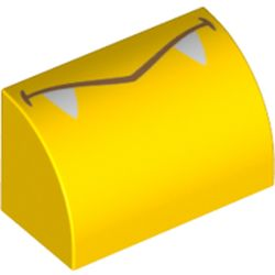 LEGO part 37352pr0009 Brick Curved 1 x 2 x 1 No Studs with Mouth, White Fangs print in Bright Yellow/ Yellow