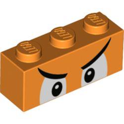 LEGO part 3622pr0061 Brick 1 x 3 with White Eyes, Angry Eyebrows print in Bright Orange/ Orange
