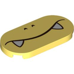 LEGO part 66857pr0009 Tile Round 2 x 4 with Face, White Fangs print in Cool Yellow/ Bright Light Yellow