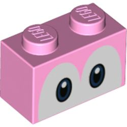 LEGO part 3004pr0056 Brick 1 x 2 with Blue Eyes (Yoshi) Print in Light Purple/ Bright Pink