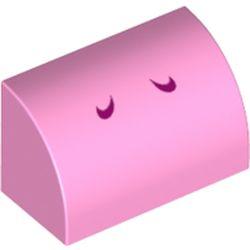 LEGO part 37352pr0008 Brick Curved 1 x 2 x 1 No Studs with Dark Pink Lines (Yoshi Nostrils) Print in Light Purple/ Bright Pink