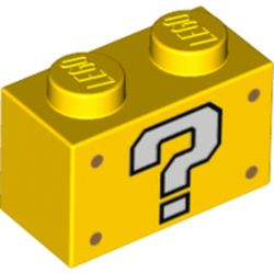 LEGO part 3004pr0075 Brick 1 x 2 with White Question Mark '?' print in Bright Yellow/ Yellow